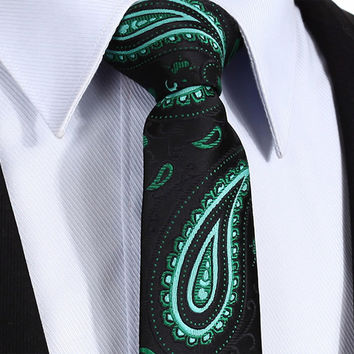 "TP902L7 Black Green Paisley skinny floral 2.75"" 100%Silk Woven Slim Skinny Narrow Men Tie Necktie Handkerchief Pocket Square Suit Set"
