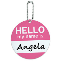 Angela Hello My Name Is Round ID Card Luggage Tag