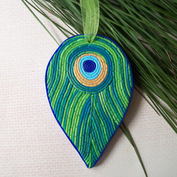 Polymer Clay Peacock Feather Ornament - Christmas tree decoration
