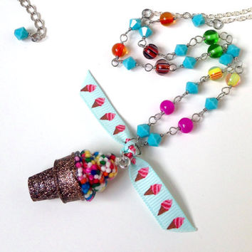 Ice cream necklace, food jewelry, candy resin necklace, kawaii charm necklace, ice cream cone charm, sprinkles jewelry
