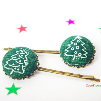 Christmas tree hair pins - Green hair piece - Winter bobby pins - Ugly Sweater Party Hair accessories for women