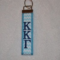 Kappa Kappa Gamma Sorority (OFFICIAL LICENSED PRODUCT) Chevron  Monogrammed Key Fob Keychain Cotton Webbing Ribbon Wristlet