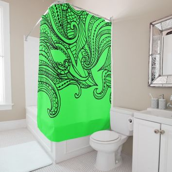 Lime Green Boho Style Shower Curtain