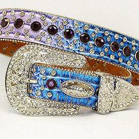 Blue and Purple Gradient Belt Studded with Rhinestones