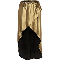 River Island Womens Gold wrap front belted maxi skirt