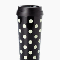 Kate Spade Le Pavillion Thermal Mug Black White Dots ONE