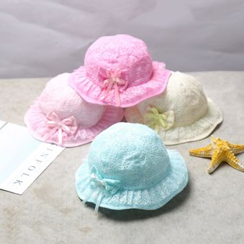 Solid Baby Girls Hats Lace Bucket Hat Cotton Baby Caps Flower Girls Sun Cap Spring Summer Baby Hats Baby Accessories 6-24 Months