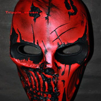 Army of two Airsoft Paintball BB Softair Gun Prop Helmet Salem Costume Cosplay Goggle Mask Maske Masque red punisher MA25 et