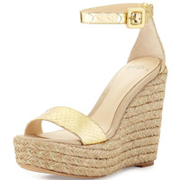 Snake-Embossed Espadrille Wedge Sandal, Gold