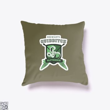Slytherin Quidditch, Harry Potter Throw Pillow Cover