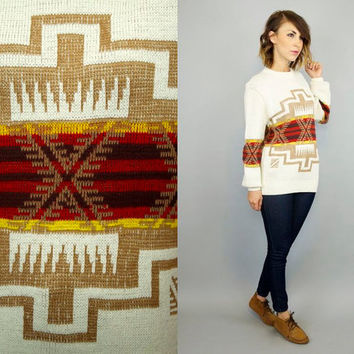 vintage 1980's PENDLETON INSPIRED geometric boho hippie ethnic SOUTHWESTERN sweater jumper, extra small-small