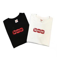 """Louis Vutitton × Supreme"" Fashion Casual Letter Pattern Print Short Sleeve Shirt Top Tee"