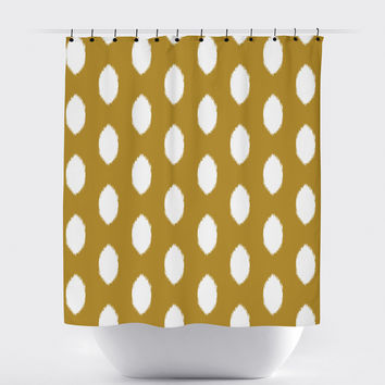 Mustard Ikat Oval Shower Curtain
