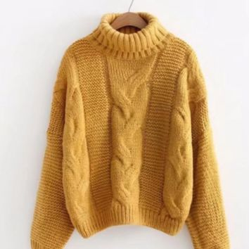 Quality ladies sweater twisted top high round neck pullover