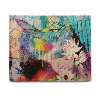 "AlyZen Moonshadow ""Hummingbird With Lotus"" Multicolor Pink Digital Birchwood Wall Art"