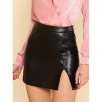 Split Front Faux Leather Skirt