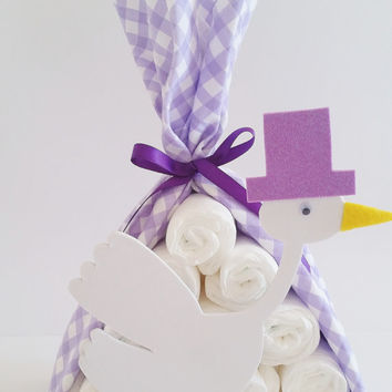 Stork Bundle Baby Shower Gift, Stork Baby Shower Center Piece, Baby Shower Decor, Christian Baby Shower, Diaper Cake