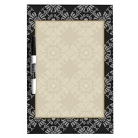 Classic Floral Motif Pattern Black and Gray Dry-Erase Board