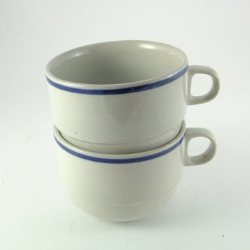 Vintage Unique Coffee Tea Cup, Espresso Porcelain,Blue White, Set of 2 Cups , English Tea Set for 2, Couple Cups, TWO CUPS, Cottage Chic