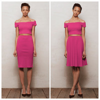 High Waist Skirt Two Piece CoOrds Set with Hot Pink Bardot Crop Top. Choose from Off Shoulder Crop Top with Skater Skirt or Pencil Skirt
