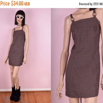 ON SALE 90s Plaid Mini Dress