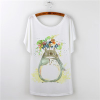 Summer Tops Loose T-shirt Totoro Print T-Shirt Womens Fashion T-shirts Cartoon Batwing Sleeve Plus Size White Tees