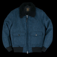 UNIONMADE - Golden Bear - Harris Tweed Lewis Bomber with Fur Collar in Navy Herringbone