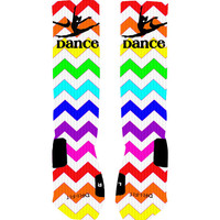Custom Dance Socks Rainbow Chevron Stripe Custom Nike Elite Socks