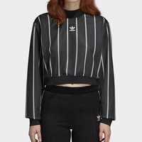 Adidas Fashion Women Men Personality Print Stripe Long Sleeve Sweater Pullover Top Black