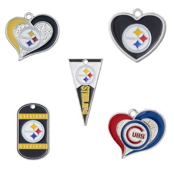 10PCS High Quality Enamel Metal Heart Charm Pendant Football Pittsburgh Steelers Sport For Fans DIY Necklace/Bracelet Jewelry