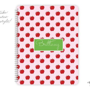 Teacher Collection - Monogrammed Personalized Notebook - Apples Pattern