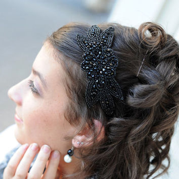 Black Beaded Headband for Women, Art Deco Fashion Headband, Hair Accessories for Adults & Teens