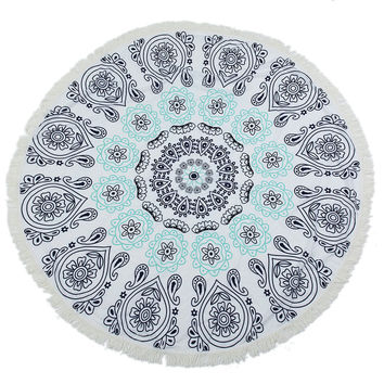 Round Blue Flowers Mandala Beach Towel