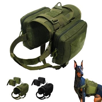 Military Tactical Dog Harness Waterproof Training Tactical K9 Vest Harness Detachable Molle Pouches Patches for Medium Large Dog