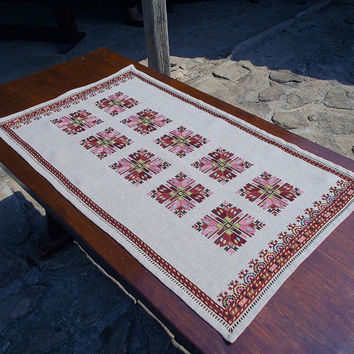 Hand embroidered table runner, cross-stitch table runner, linen table runner, table topper, table runner, Bulgarian embroidery