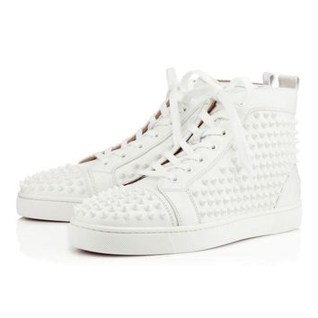 PEAPON Christian Louboutin Louis Spikes Men's Women's Flat White/White Leather