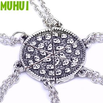 6pcs/set Pizza Friendship Best Friends Creative Necklace Women Men Jewelry Collares Christmas Gifts C998