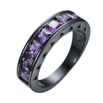 Charming Jewelry Mini Purple Purple CZ Women Luxury Wedding Ring Anel Black Gold Filled Engagement Band Promise Rings RB0365