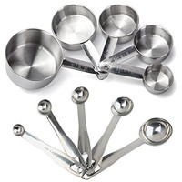 Maison Maison Measuring Cups and Measuring Spoons Set - 11 Piece Stainless Steel with 2 D Rings and Precise American & Metric Measurements