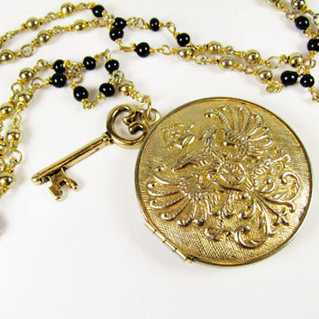 Medallion Locket Necklace with Key Charm, Gold Tone and Black / Vintage Wedding Necklace - Collier.