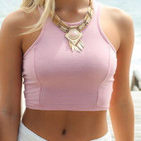 Conch Shell Dusty Pink Solid Fitted Cropped Tank
