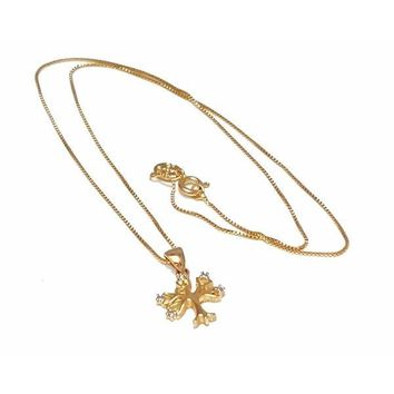 1-2207-1509-f7 18kt Brazilian Gold Layered Tree of Life Necklace. 18 inch Box Chain. Pendant is 14mm wide by 20mm tall.