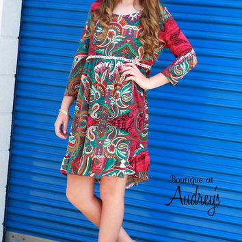 Magenta and Jade Printed Babydoll Dress with Crochet Detail