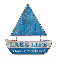 "Waterside Collection ""Lake Life Floats My Boat"" Two Piece Metal Sailboat Wall Decor - 15-1/4-in L x 16-1/2-in H"