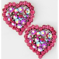314317 Valentines Day / Heart Buttons / Post Earring Set