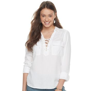 Juniors' SO® Lace-Up Utility Top