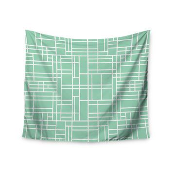 "Project M ""Map Outline Mint"" Geometric Lines Wall Tapestry"
