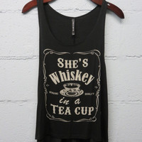 Whiskey in a Tea Cup Tank-Black