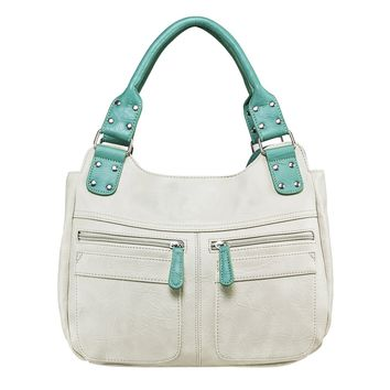Hobo Bag Features 2 Center Compartments with Zipper Eclosures - Off White