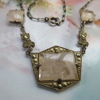 Vintage 1920s Sterling Rose Quartz Necklace  Art Deco Era